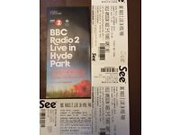 Radio 2 Live in hyde Park 11th Sept - 1 adult & 2 Childrens tickets £60