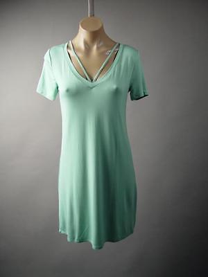 Pastel Light Blue V-Neck Jersey Casual Basic Minimalist T-Shirt 225 mv Dress S L
