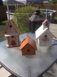 2 BIRDS HOUSES MADE FROM BARN WOOD + ONE IN CHOPPING BLOCK.