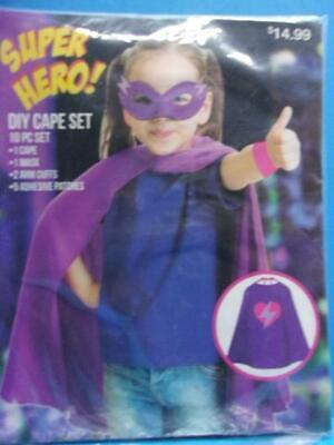 Girl Halloween Costume Diy (Super Hero DIY Cape Set~Mask Arm Cuffs & Patches Halloween Costume Play Dress)