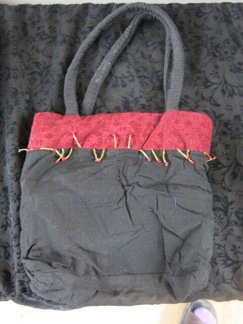 black beaded bag + handmade bracelet