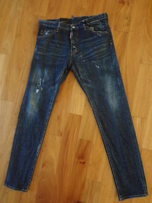 Dsquared2 High Rise Cool Guy Used Effect Slim Fit Jeans Blue EU 48 US 32 NWT