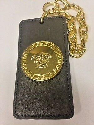 VERSACE MEDUSA LUXURY LEATHER KEY CHAIN WITH NAME TAG  , AUTHENTIC