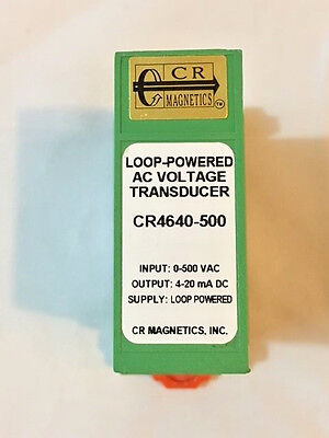 Cr Magnetics Cr4640-500 Voltage Transdu In 0-500 Vac Out 4-20 Ma Dc Loop Powr