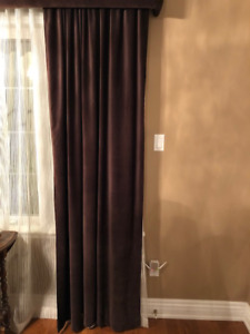 4 Chocolate Brown Velvet Curtain Panels