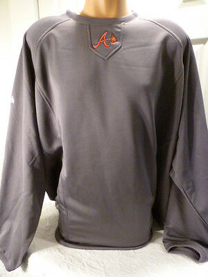9710-13 MENS Majestic ATLANTA BRAVES Authentic Therma Base Fleece Pullover GRAY -