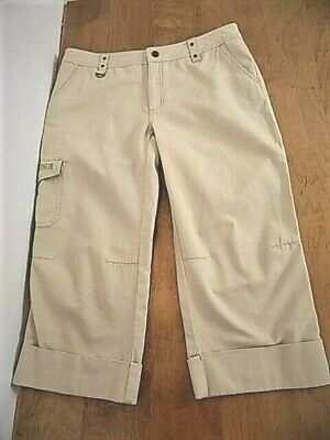 Harley Davidson Women's Beige Wider Leg Capri pants Sz 12 Articulated Seaming