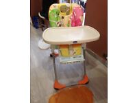 Chicco high chair, reclinable