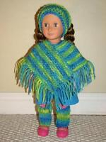 American Girl 3 piece knitted poncho set.