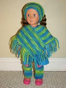 3 piece knitted poncho set for American Girl Dolls