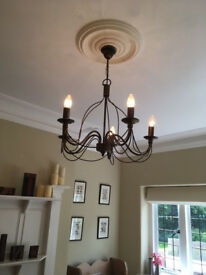 Burnished bronze 5 arm chandelier