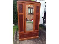 Large Wooden Wardrobe With Mirror & Drawers Good Quality