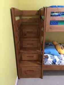 TWIN STAIRCASE BUNK BED, DRESSER & MIRROR