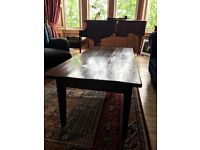 Antique Oak French Country Farmhouse Coffee Table with Drawer