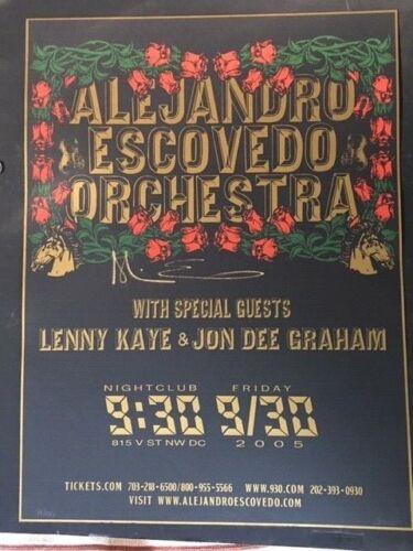 Alejandro Escovedo Orchestra SIGNED 2005 Concert Poster 9:30 Club Cernoch Design