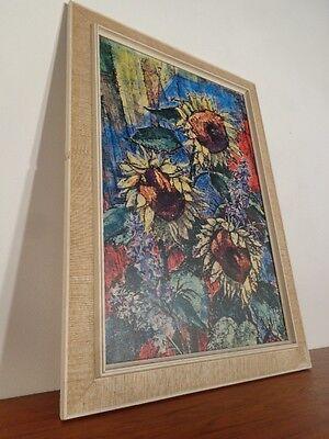 60er Jahre Druck mit Rahmen Sonnenblumen Hans Trillitzsch 60s Print Picture