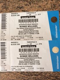 2 x Robbie Williams tickets for sale Queen Elizabeth Olympic Park London Fri 23 Jun Block 238