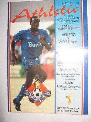 1990 FOOTBALL LEAGUE CUP SEMI FINAL: OLDHAM ATHLETIC v WEST HAM UNITED