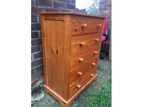 SOLID PINE WOOD CHEST, NO CHEAP MDF, 5 DRAWERS, GOOD USED CONDITION, REDUCED TO CLEAR