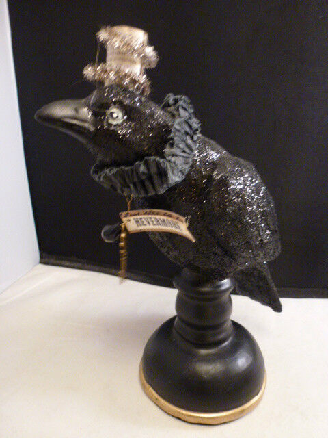 Halloween  Nevermore Black Raven  Perch Bird Statue  wearing a HAT with KEY