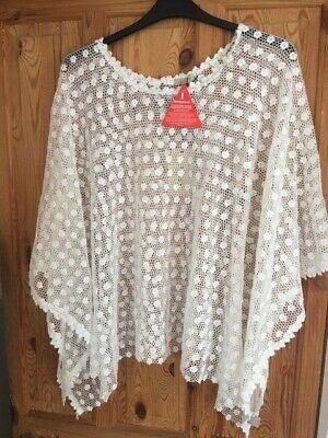 Jayley White Cotton Daisy Crochet Lace Poncho Kimono Cover Up BNWT