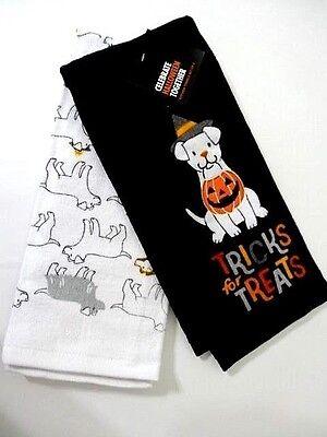 Dog Tricks for Treats 2-Pc Kitchen Towels Pumpkin Black White Orange Cotton