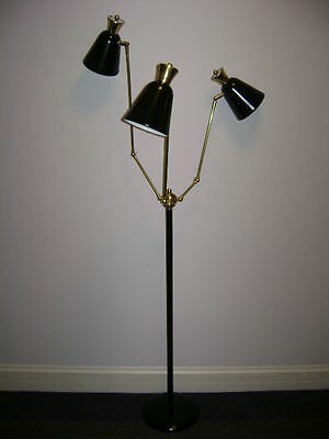 Black STILNOVO Eames ARTELUCE Floor LAMP Light BENDABLE ARMS Mid-Century DECO for sale  Beverly Hills