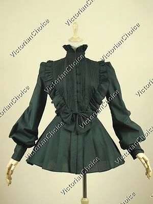 Victorian Gothic Women Vintage Black Blouse Shirt Steampunk Punk Clothing B005