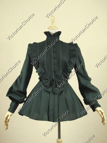 Victorian Steampunk Gothic Pleated Black Blouse Shirt Reenactment Top B005