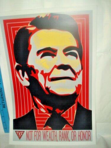 "18""x12"" Tau Kappa Epsilon poster. Ronald Reagan TKE not for wealth rank or honor"
