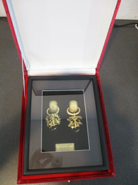 Korean National Treasure No. 90 24K Gold Plated Earrings In Display Box