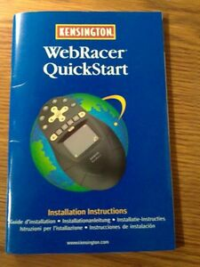 KENSINGTON WEBRACER QUICKSTART INSTALLATION MANUAL