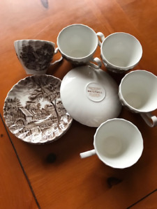Johnson Brothers Watermill Brown Flat Demitasse Cups & Saucers