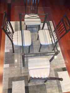 GLASS DINING TABLE 4 CHAIRS and  HUTCH