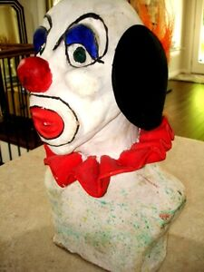 Large CLOWN HEAD BUST sculpted clay TOO COOL! very heavy CREEPY Kitchener / Waterloo Kitchener Area image 2