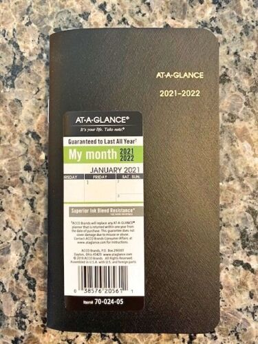 At-A-Glance Two Year Monthly Planner for 2021 - 2022 - Pocket/Purse Size - NEW