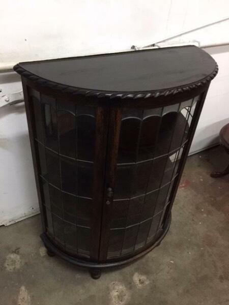 Furniture F14024 Vintage Half Round Demilune Leadlight Cabinet China Display