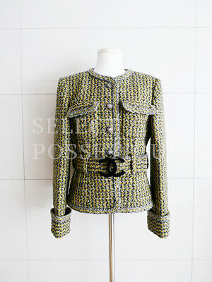 NWOT CHANEL 17A CC BUCKLE BELTED GREEN GRAY TWEED JACKET FR38