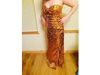 Brand new crystal breeze gold sequence dress