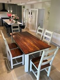 Heavy Cherry Wood Dining Table & Six Chairs ~ Vintage Shabby Chic*FREE DELIVERY*(oak pine farmhouse)