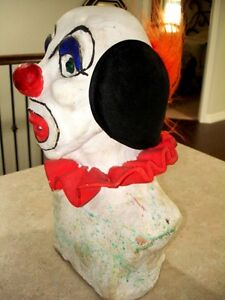 Large CLOWN HEAD BUST sculpted clay TOO COOL! very heavy CREEPY Kitchener / Waterloo Kitchener Area image 3