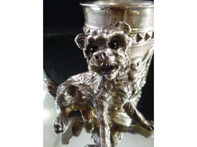 ANTIQUE JAMES W. TUFTS  BOSTON QUADRUPLE PLATE DOG TOOTHPICK HOLDER # 3412