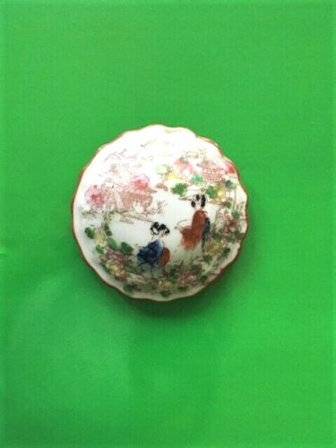 Vintage Japanese Porcelain Hand Painted Trinket Jewelry Box with Lid  Rare Japan