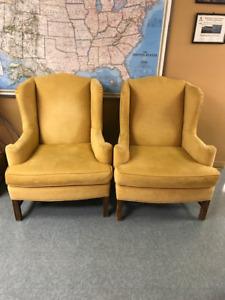 Pair of Vintage Goldenrod Yellow Armchairs