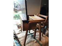 Childs old wooden school desk and chair