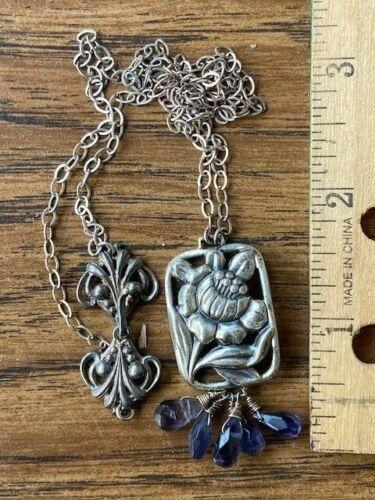 MCM Modernist Danish Georg Jensen style Sterling Silver Flower Necklace Amethyst