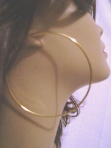 LARGE 3 INCH HOOP EARRINGS GOLD TONE SIMPLE THIN HOOPS