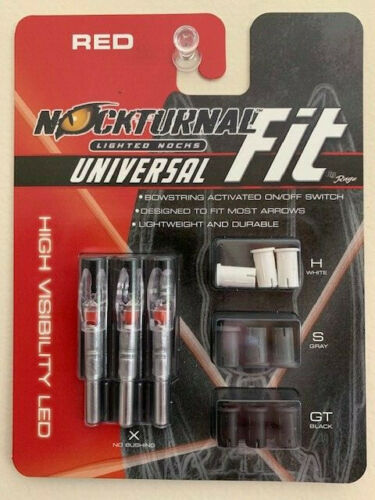 New Nockturnal By Rage Universal Fit Red Lighted Nocks 3pk NT-302