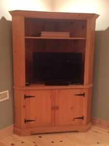 Natural Pine Corner Entertainment Cabinet