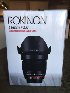 """Mint"" Rokinon 16mm f2.0 wide angle for Nikon DX Cameras"